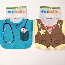 2 Embelle Bibs Blue Doctor / Nurse Cowboy Dress Up Baby Shower Boy Gift Cloth