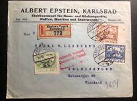 1919 Kalrsbad Czechoslovakia Commercial Registered Cover To Helsinki Finland
