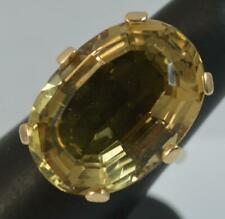 HUGE Citrine & 14ct Gold Solitaire Cocktail Ring f0446
