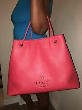 Authentic Gucci Sporting Red Dollar Calf Leather Braided Handle Handbag