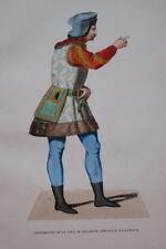 GRAVURE-GENTILHOMME COUR DE SIGISMOND COSTUMES MOYEN AGE 1847-ANTIQUE  PRINT