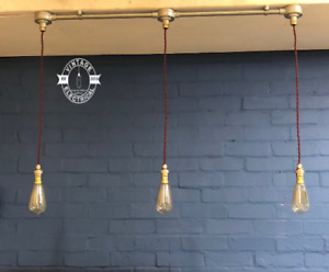 3 x Industrial Pendant Light | Ceiling Dining Room | Kitchen Table Hanging Pipe