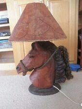 LEATHER Sculpted Horse Head Table Lamp ...WOW!!!!!! UNUSUAL