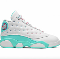 Air Jordan 13 Retro Soar Green White Pink Unisex Kids 439669 100 - SIZE 10.5c