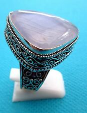 925 Sterling Silver Ring With Pale Blue Striped Agate UK P 1/2, Us 8   (rg1721)