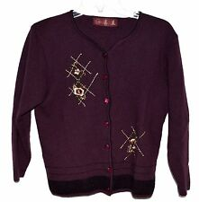 Asian Designer Purple Wool Flowered Embroidered with Studs Cardigan Sweater Sz S