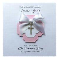 Personalised Christening Card Diamanté Cross Charm Handmade - Girl