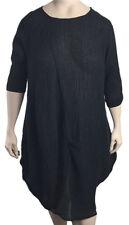 Cheyenne L/XL Black Linen Crinkle Dress Cut Large Fits 2x 3x NWT $220