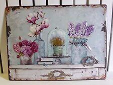 vintage metal flower sign pink roses magnolia lilac on dresser shabby chic