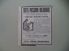 advertising Pubblicità 1914 MACCHINA DA RICAMO OSCAR WICHELHAUS - TORINO