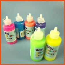 12 x GLITTER GLUE BOTTLES 92ml Kids Neon Colour Craft Glitter Glue Art Slime Kit