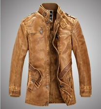 Retro Mens Punk Leather Stand Collar Coat Warm Furry Lined Long Jackets Overcoat