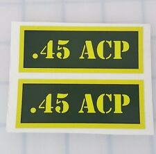 """45 ACP Ammo Can Labels for Ammunition Case 3"""" x 1"""" sticker decals 2 PACK -AG"""