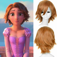 Disney Princess Rapunzel Tangled Cosplay Short Pixie Brown Full Wigs Wig