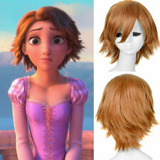 Disney Princess Rapunzel Tangled Cosplay Short Pixie Brown Full Wigs Wig