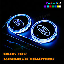 New For Ford Switchable 7 Colors LED Light Car Cup Holder Bottom Pad USB Charger