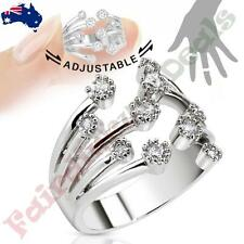 Fountain of Multi-Paved Gem Rhodium Plated Brass Adjustable Mid Ring / Toe Ring