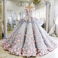 Flower Bows Applique Wedding Dress Bridal Gown Custom Plus Size 6 8 10 12 14 16+