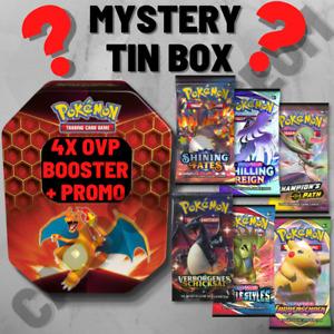 Pokemon TCG ● Mystery Tin Box ● 4x OVP Booster + Promo Karte ● Original