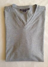 $50 NWT Mens Michael Kors MK Logo V-Neck Short Sleeve T-Shirt Heather Gray S