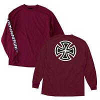Independent Trucks Bar Iron Cross Skateboard Long Sleeve T-Shirt Burgundy M-XXL