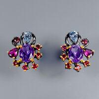 Amethyst Earrings Silver 925 Sterling Fine Art  /E38026