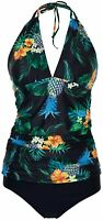 Yonique Womens Two Piece Halter Tankini Swimsuits, Black-pineapple, Size Small x