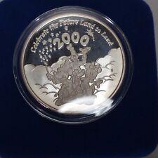 Walt Disney Fine Silver Coin Celebrate the Future Medallion Box and COA 2000