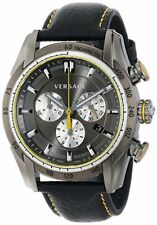 """Versace Men's VDB020014 """"V-Ray"""" Stainless Steel Chronograph Leather Band Watch"""