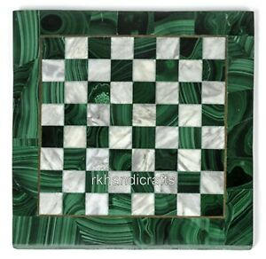 Malachite Gemstones Inlaid Marble Game Table Top Patio Side Table 13 Inches
