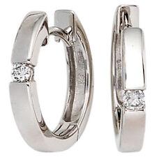 Damen Creolen rund 585 Gold Weißgold 2 Diamanten Brillanten 0,10ct. Ohrringe