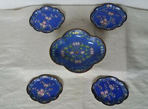 Altes China Cloisonne Schalen-Set um 1930(Republikzeit) - 5 Teile, gut erhalten.