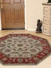Rugsotic Carpets Hand Tufted Woolen Octagon Area Rug Beige Red K00106