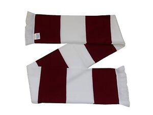 Claret and White Retro Bar Scarf - Northampton Colours - Made in UK