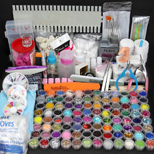 96pcs Nail Art Care kit Glitter UV Gel Acrylic Powder Liquid Brush Clipper SET