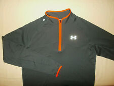 New Under Armour 1/2 Zip Long Sleeve Dark Gray Fitted Running Shirt Mens Large