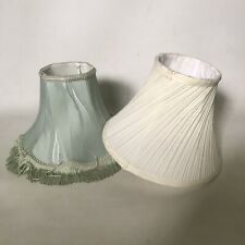 2X Vintage Style Table Lamp Shades Bell Shape Tassels Fabric Cottage Green Cream