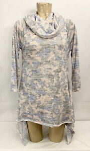 """Kensie Performance Athletic Shirt Size L Large 19"""" 3/4 Sleeve Gray Blue Camo"""