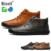 Mens Leather Casual Shoes Hand Stitching Breathable Antiskid Driving Ankle Boots