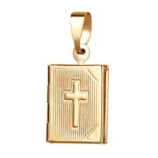 Fashion Womens 24K Gold Filled Cross Locket Pendant For Chain Necklace Jewelry
