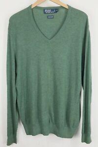 Polo Ralph Lauren Mens sz XL Sage Green Cashmere Blend V Neck Knit Sweater
