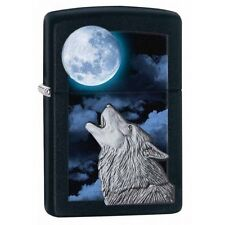 Zippo 28879 wolf howling at moon emblem black matte finish full size Lighter