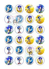 SONIC THE HEDGEHOG CUPCAKE TOPPERS X24 ASSORTED EDIBLE FAIRY CAKE DECORATIONS D1