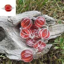 10 Perles Fil metal Coloris Argent Boule ovale (rouge)