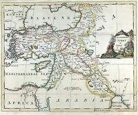 Antique Map TURKEY in ASIA by G. Rollos 1764 copper plate, hand colour, original
