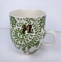 "Anthropologie Coffee Mug Tea Cup Initial ""n"" Monogram Homegrown Green on white"