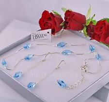 925 STERLING SILVER SET CHAIN NECKLACE +EARRINGS WITH SWAROVSKI Elements POLYGON