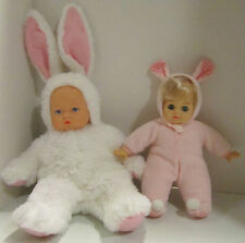 """1991 Anne Geddes 14""""Bunny baby & 1986 Playmates Bunny baby-removable outfits Vgc"""