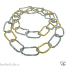 "36"" Eternally Haute Gold tone and Silver tone Steel Mesh Chain Link Necklace"