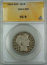 1914 Barber Silver Half Dollar, ANACS VG-8, Very Good Coin, TJB